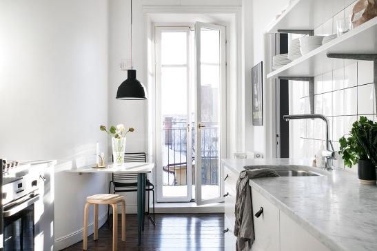 Frejgatan Vasastan blacony kitchen marble black white Stockholm Fantastic Frank