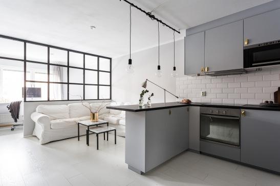 Götgatan Södermalm Kitchen livingroom grey brass bistro eucalyptus Fantastic Frank