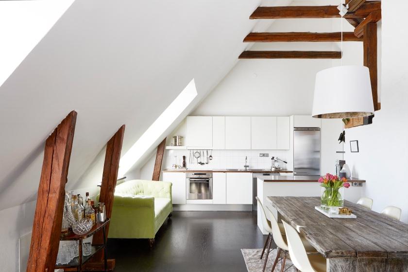 Karlbergsvägen diningroom kitchen attic vindsvåning green white Fantastic Frank