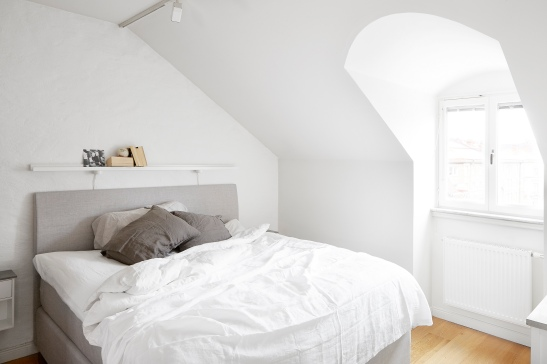Tegnergatan bedroom grey white window attic Fantastic Frank