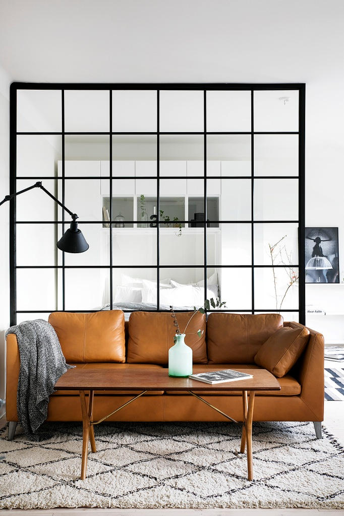 Tranebergsvägen Stockholm Livingroom leather sofa wall bedroom art carpet Fantastic Frank