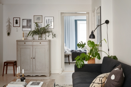 Falugatan Josefin Hååg Joakim Johansson livingroom sofa grey cabin art eucalyptus Fantastic Frank.jpg