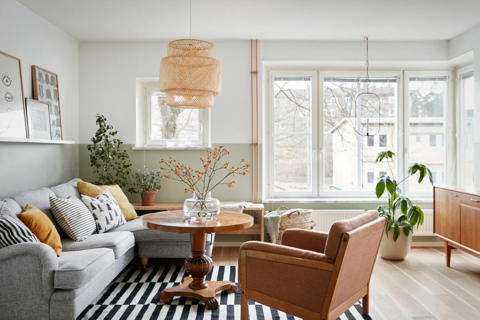 Ystadsvägen Mimmi Staaf Joakim johansson livingroom beige brown stripes fantastic frank